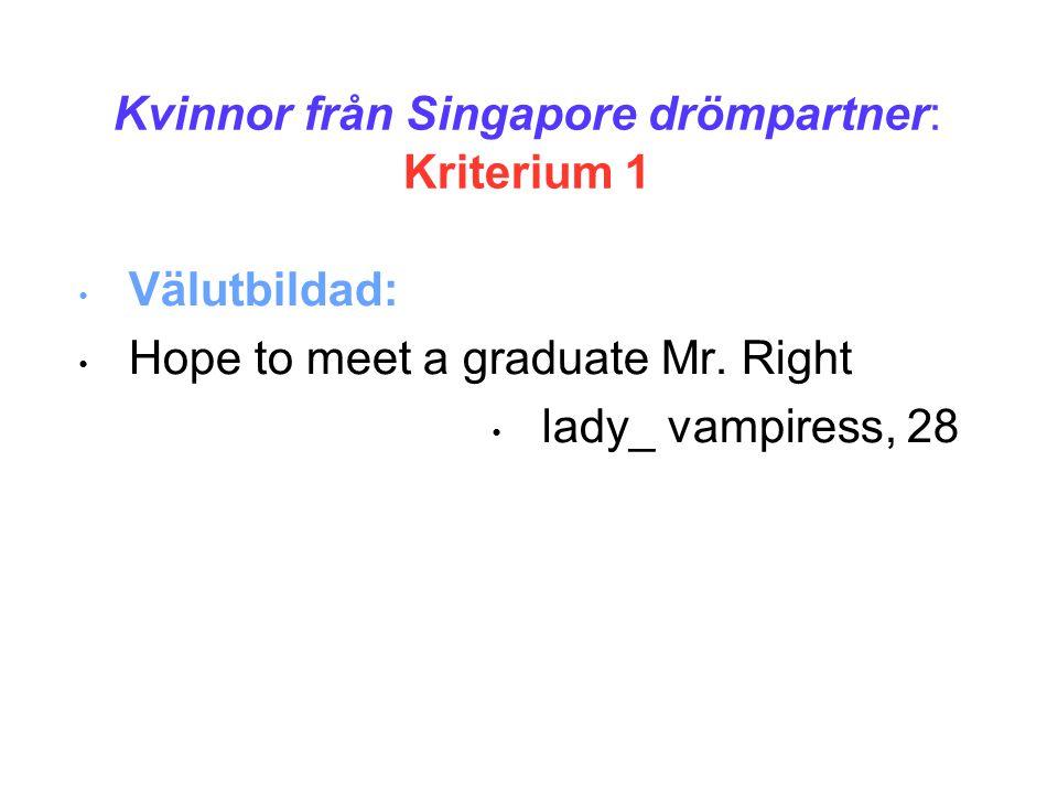 Kvinnor från Singapore drömpartner: Kriterium 1 • Välutbildad: • Hope to meet a graduate Mr.