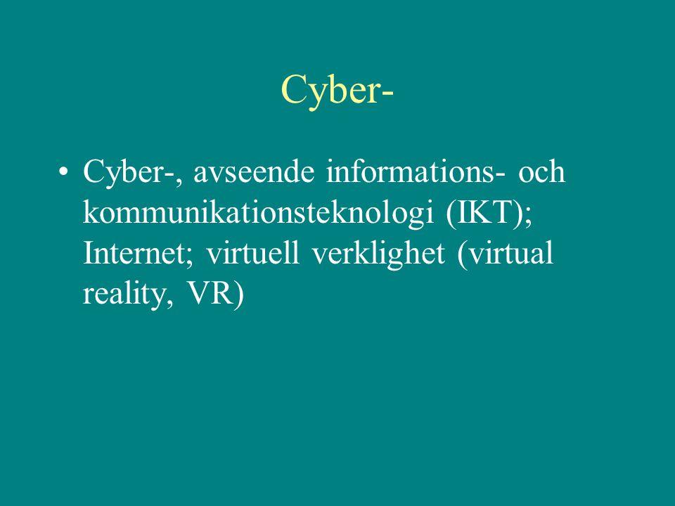 Cyber- •Cyber-, avseende informations- och kommunikationsteknologi (IKT); Internet; virtuell verklighet (virtual reality, VR)