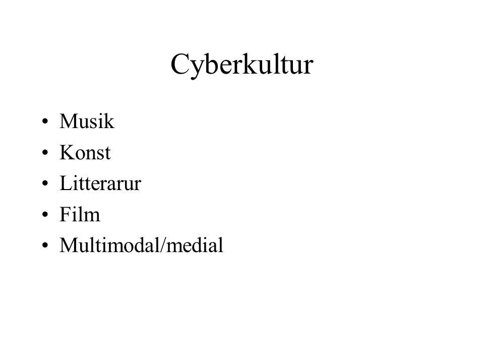 Cyberkultur •Musik •Konst •Litterarur •Film •Multimodal/medial