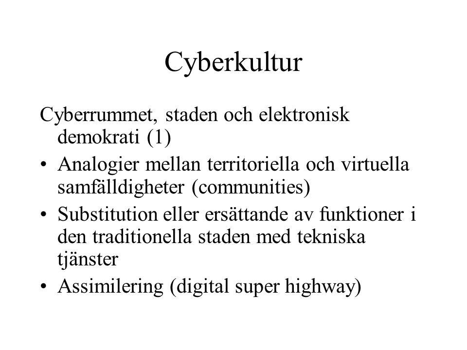 Cyberkultur Cyberrummet, staden och elektronisk demokrati (1) •Analogier mellan territoriella och virtuella samfälldigheter (communities) •Substitutio