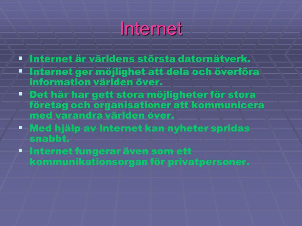  Nätverk och deras funktion är att man kan koppla ihop dator och påverka flera samtidigt genom att överföra data till varandra.  Det har blivit en s