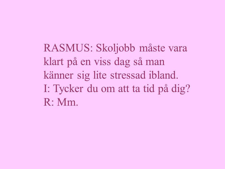 RASMUS: Skoljobb måste vara klart på en viss dag så man känner sig lite stressad ibland.