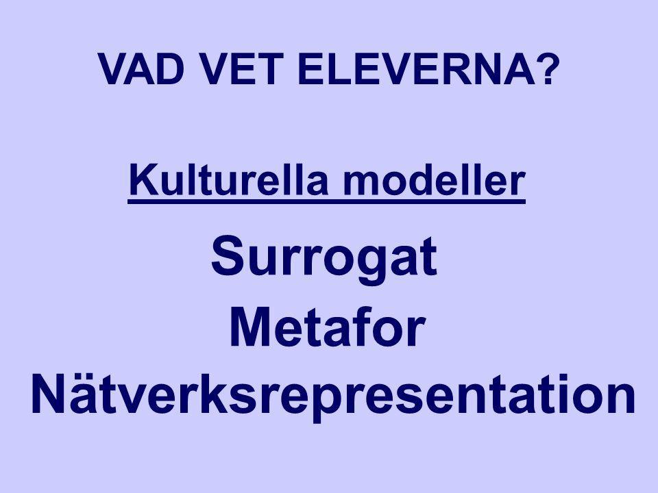 Surrogat Metafor Nätverksrepresentation Kulturella modeller VAD VET ELEVERNA