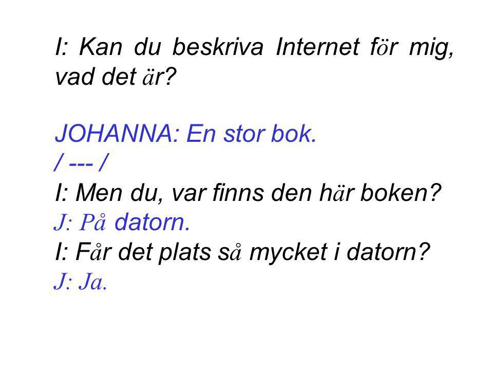 I: Kan du beskriva Internet f ö r mig, vad det ä r.