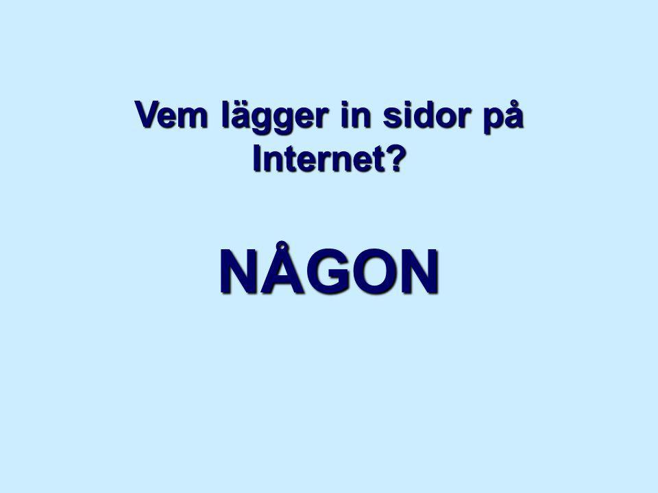 Vem lägger in sidor på Internet NÅGON