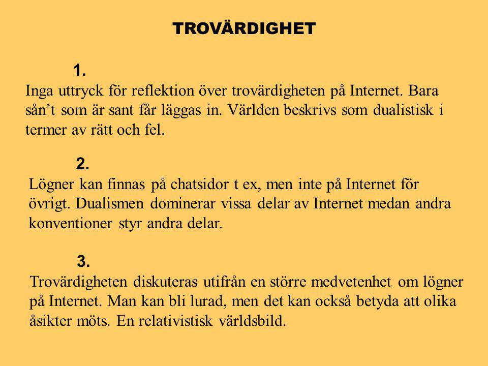 TROVÄRDIGHET 1. Inga uttryck för reflektion över trovärdigheten på Internet.