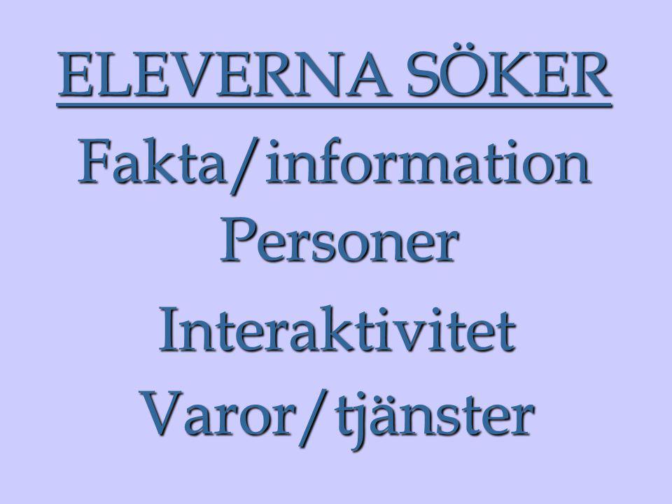 ELEVERNA SÖKER Varor/tjänster Interaktivitet Fakta/information Personer