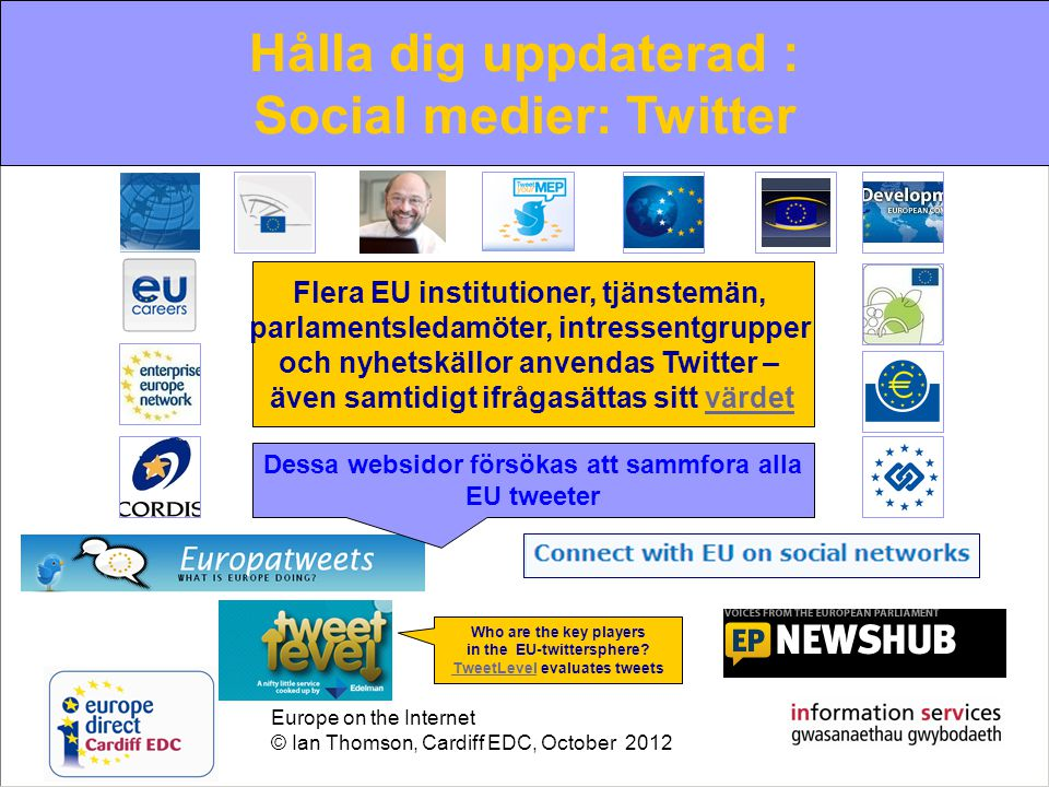 Europe on the Internet © Ian Thomson, Cardiff EDC, October 2012 The increasing role of new media Web 2.0: Twitter Who are the key players in the EU-twittersphere.