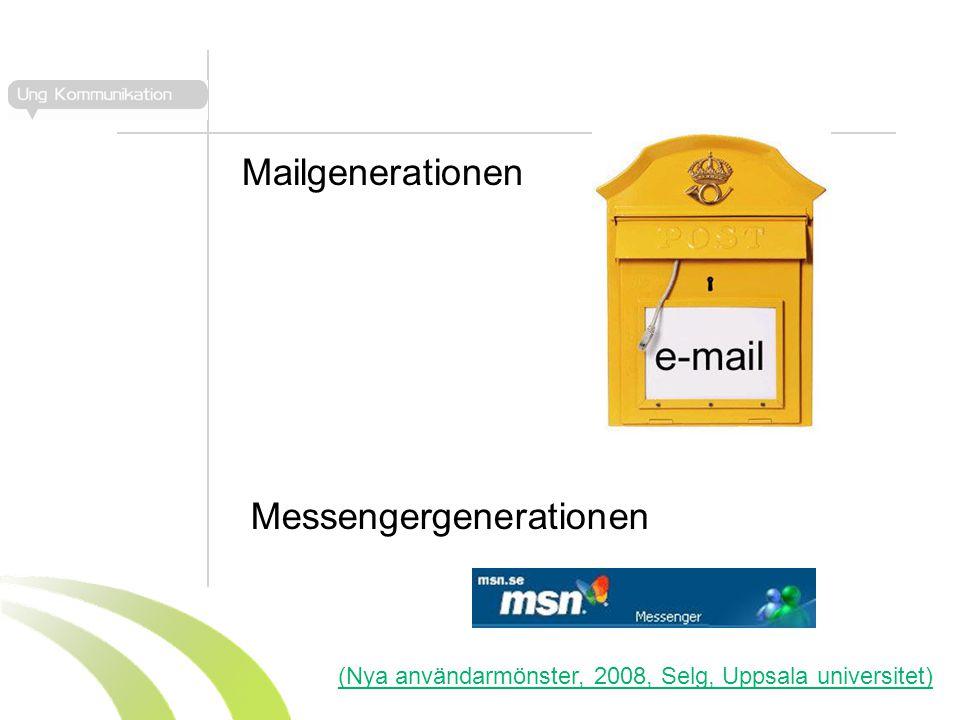 Mailgenerationen Messengergenerationen (Nya användarmönster, 2008, Selg, Uppsala universitet)