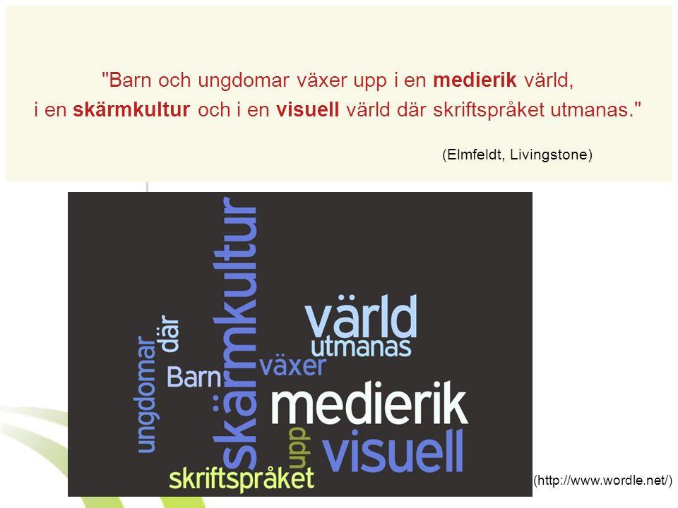 www.ungkommunikation.se www.ungkommunikation.blogg.se (http://www.wordle.net/) Barn och ungdomar växer upp i en medierik värld, i en skärmkultur och i en visuell värld där skriftspråket utmanas. (Elmfeldt, Livingstone)