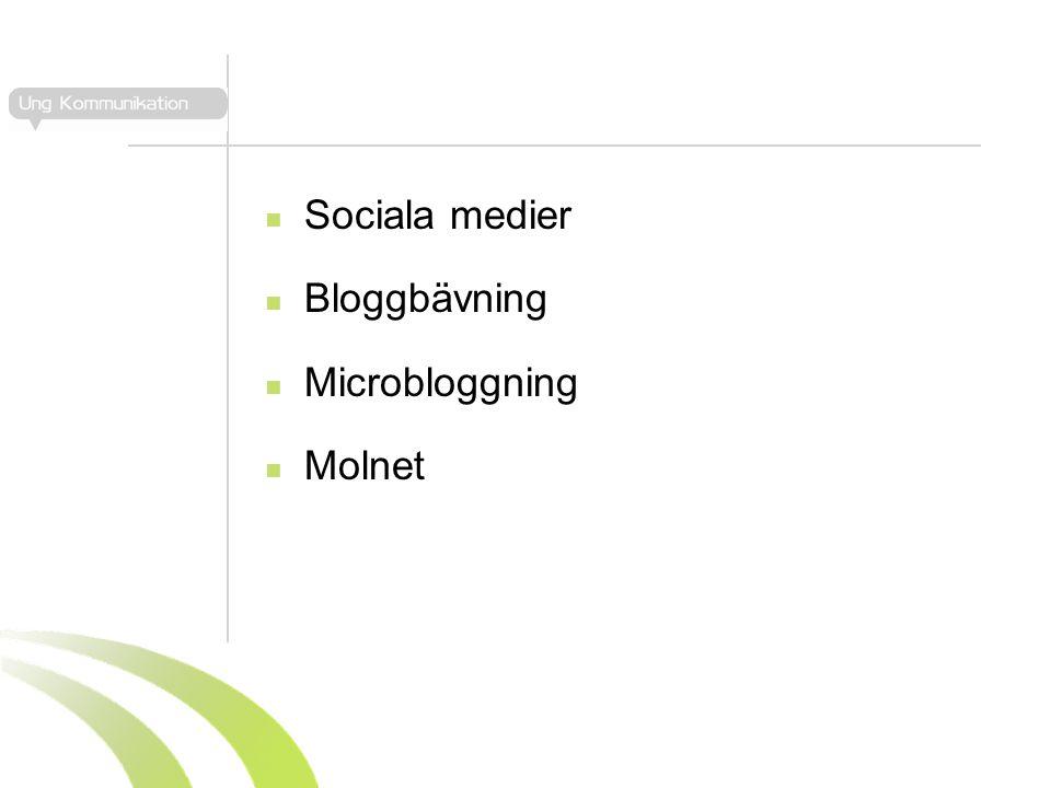  Sociala medier  Bloggbävning  Microbloggning  Molnet