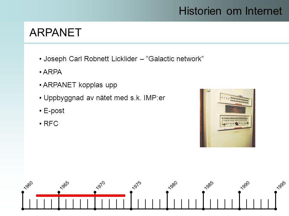 19601965197019751980198519901995 Historien om Internet ARPANET • Joseph Carl Robnett Licklider – Galactic network • ARPA • ARPANET kopplas upp • Uppbyggnad av nätet med s.k.