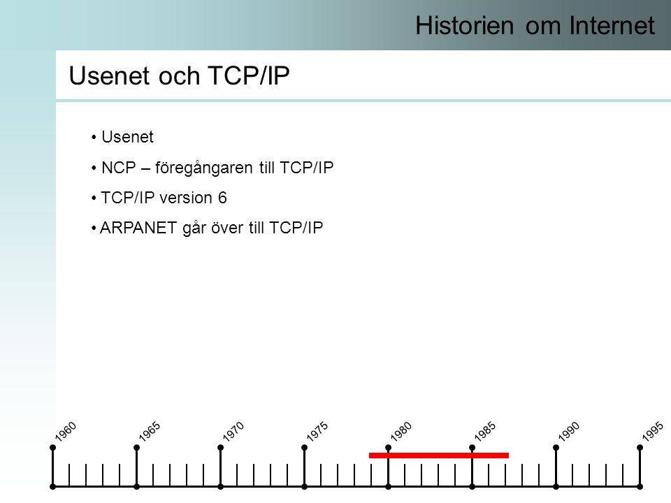 19601965197019751980198519901995 Historien om Internet Usenet och TCP/IP • Usenet • NCP – föregångaren till TCP/IP • TCP/IP version 6 • ARPANET går över till TCP/IP