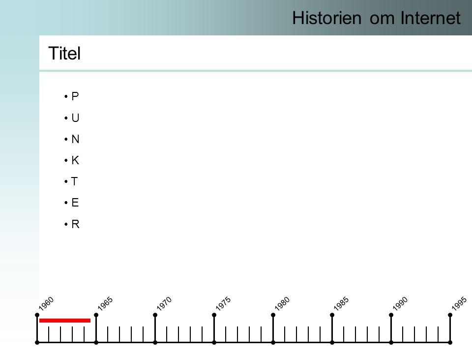 19601965197019751980198519901995 Historien om Internet Titel • P • U • N • K • T • E • R