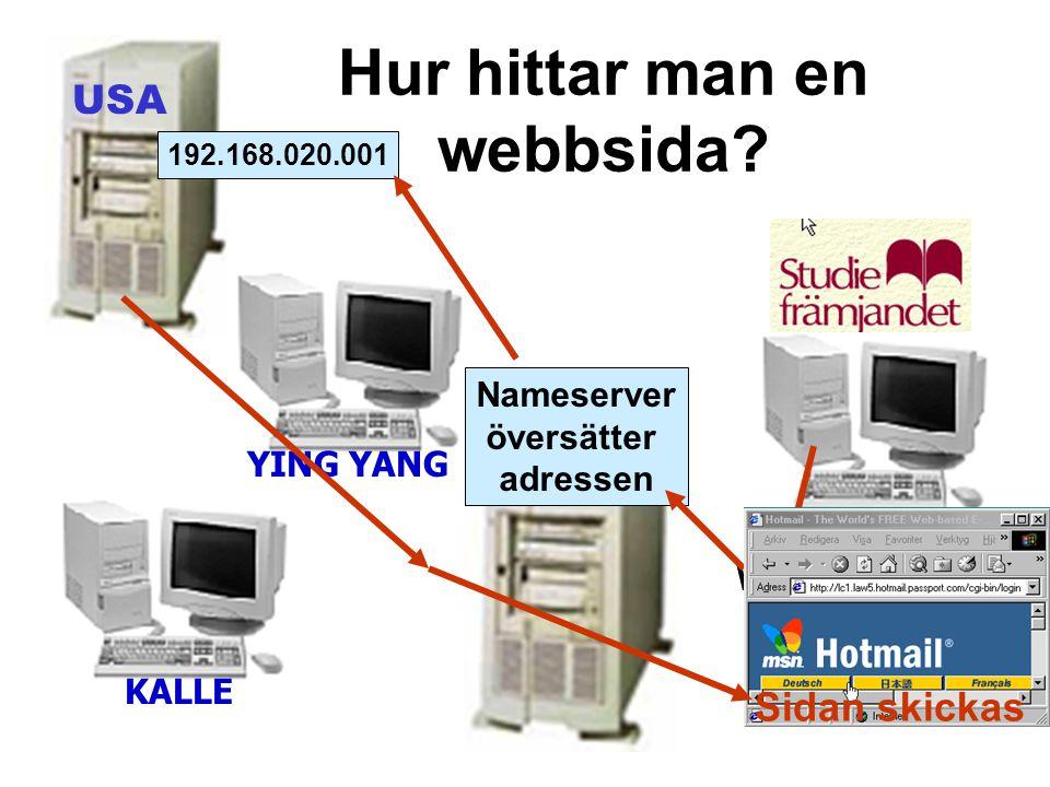Hur hittar man en webbsida? USA KALLE YING YANG Www.hotmail.com Nameserver översätter adressen 192.168.020.001 Sidan skickas