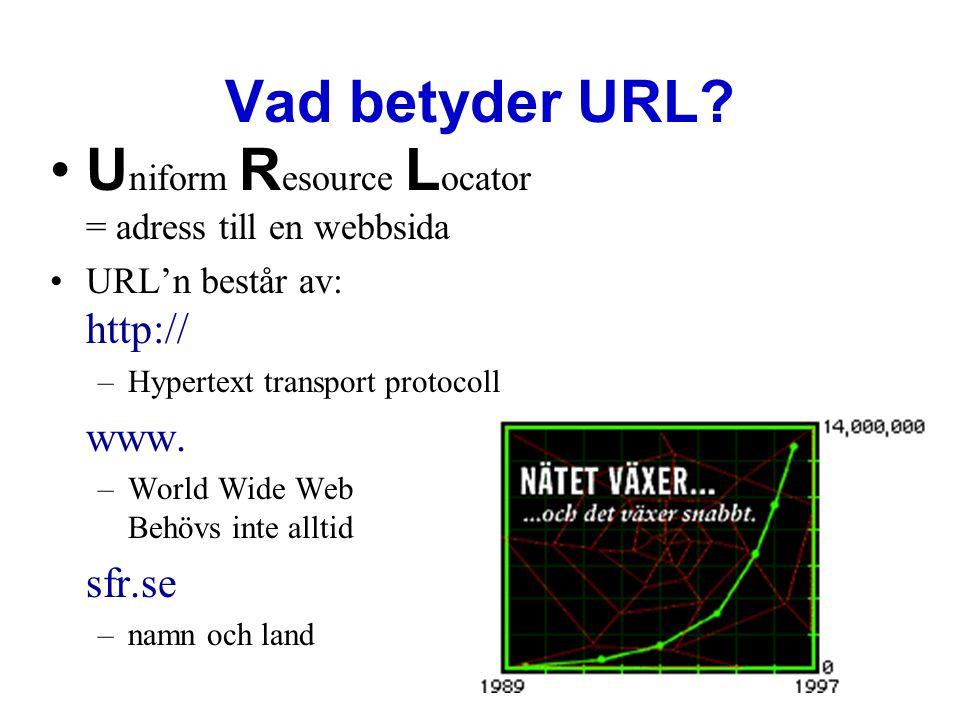 Vad betyder URL? •U niform R esource L ocator = adress till en webbsida •URL'n består av: http:// –Hypertext transport protocoll www. –World Wide Web