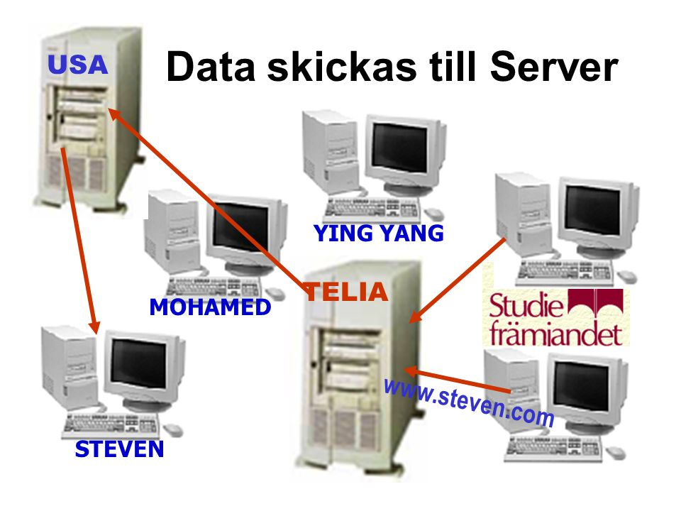 Data skickas till Server TELIA USA STEVEN MOHAMED YING YANG www.steven.com