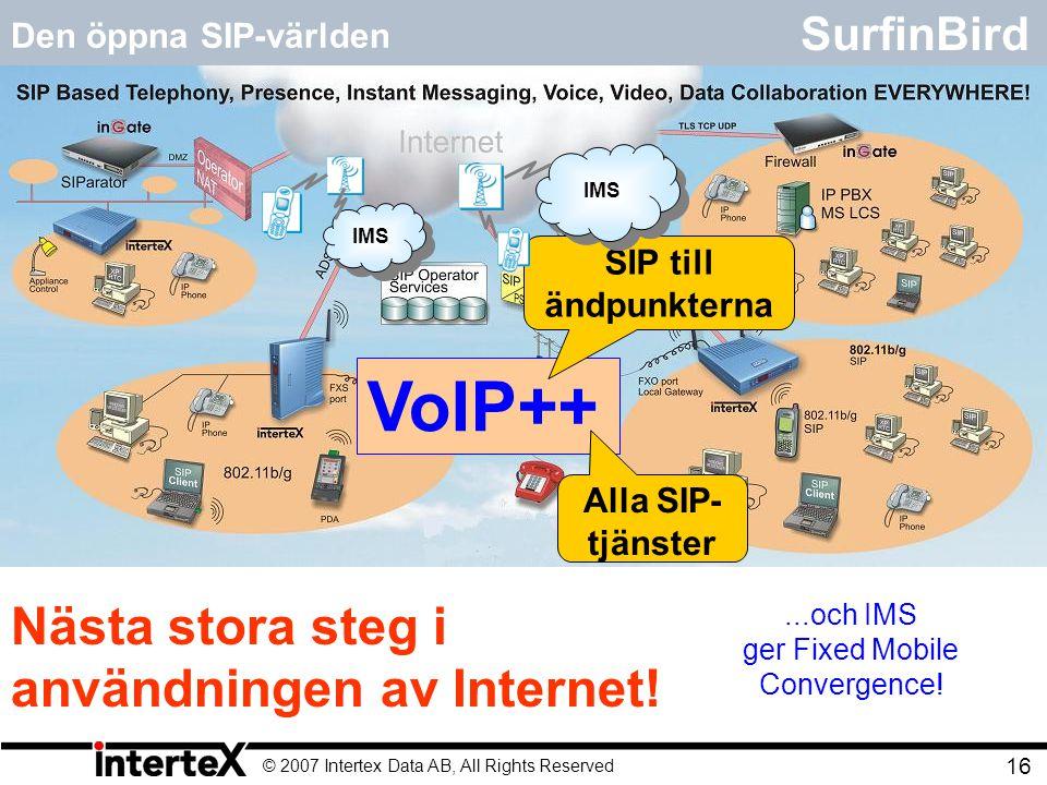 © 2007 Intertex Data AB, All Rights Reserved 16 SurfinBird Den öppna SIP-världen Den öppna SIP-världen:  En Internettjänst bland andra.