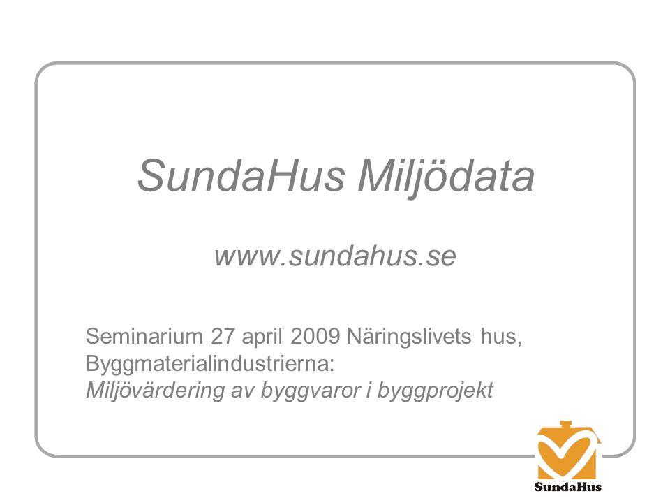SundaHus Miljödata www.sundahus.se Seminarium 27 april 2009 Näringslivets hus, Byggmaterialindustrierna: Miljövärdering av byggvaror i byggprojekt