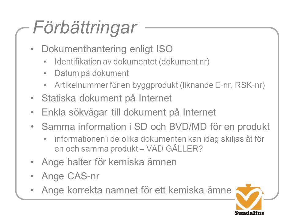 Förbättringar •Dokumenthantering enligt ISO •Identifikation av dokumentet (dokument nr) •Datum på dokument •Artikelnummer för en byggprodukt (liknande