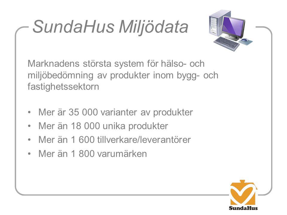 SundaHus Miljödata Marknadens största system för hälso- och miljöbedömning av produkter inom bygg- och fastighetssektorn •Mer är 35 000 varianter av p