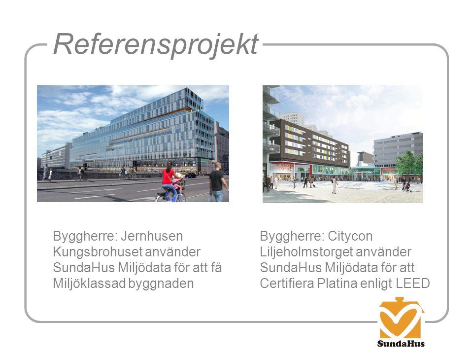 Referensprojekt Byggherre: Jernhusen Kungsbrohuset använder SundaHus Miljödata för att få Miljöklassad byggnaden Byggherre: Citycon Liljeholmstorget a