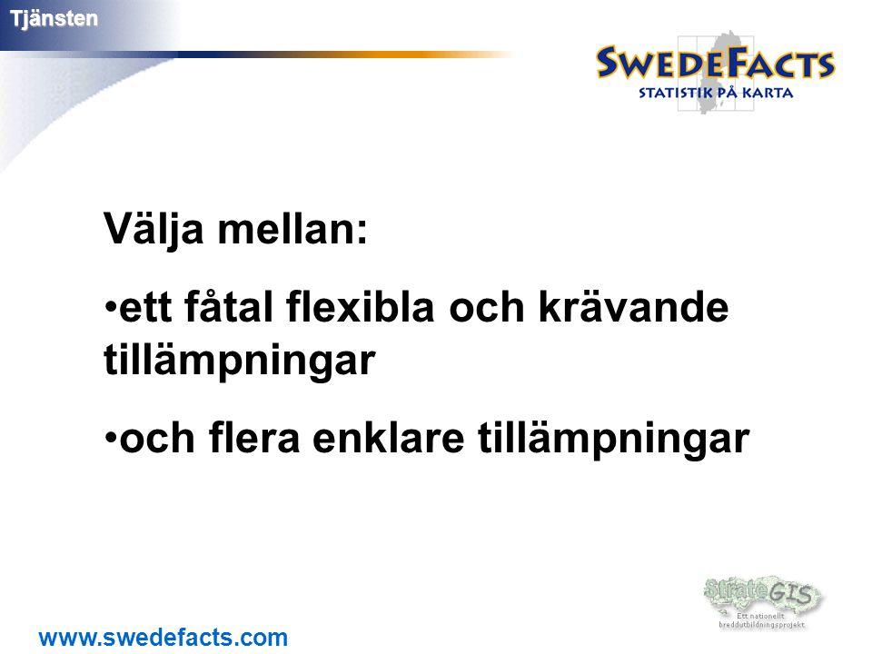 www.swedefacts.comTjänsten Välja mellan: •ett fåtal flexibla och krävande tillämpningar •och flera enklare tillämpningar