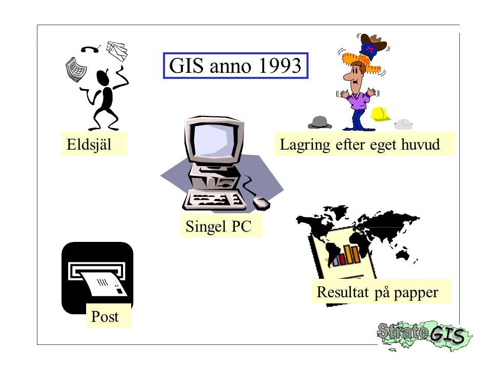 Singel PC EldsjälLagring efter eget huvud Resultat på papper Post GIS anno 1993