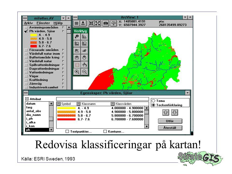 Redovisa klassificeringar på kartan! Källa: ESRI Sweden, 1993