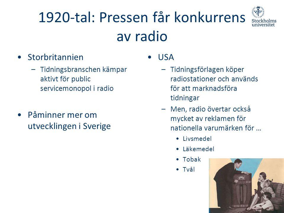 1920-tal: Pressen får konkurrens av radio •Storbritannien –Tidningsbranschen kämpar aktivt för public servicemonopol i radio •Påminner mer om utveckli