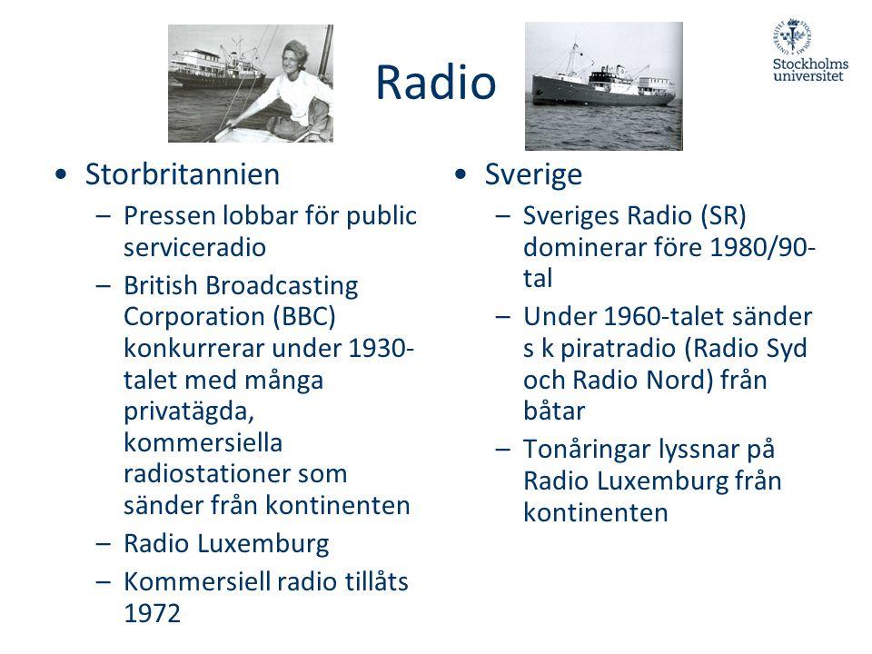 Radio •Storbritannien –Pressen lobbar för public serviceradio –British Broadcasting Corporation (BBC) konkurrerar under 1930- talet med många privatäg