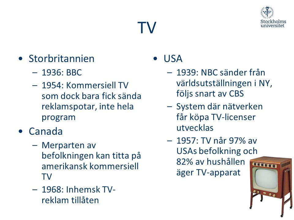 •Storbritannien –1936: BBC –1954: Kommersiell TV som dock bara fick sända reklamspotar, inte hela program •Canada –Merparten av befolkningen kan titta