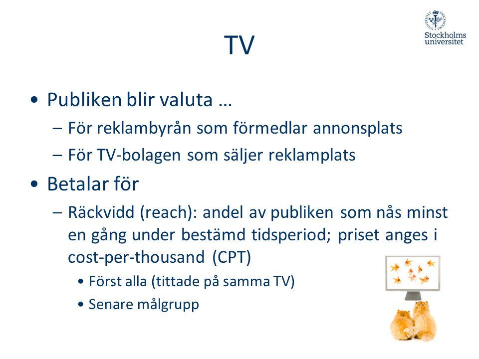 TV •Publiken blir valuta … –För reklambyrån som förmedlar annonsplats –För TV-bolagen som säljer reklamplats •Betalar för –Räckvidd (reach): andel av