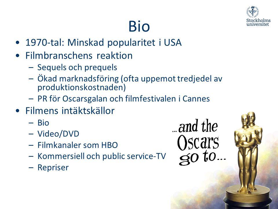 Bio •1970-tal: Minskad popularitet i USA •Filmbranschens reaktion –Sequels och prequels –Ökad marknadsföring (ofta uppemot tredjedel av produktionskos