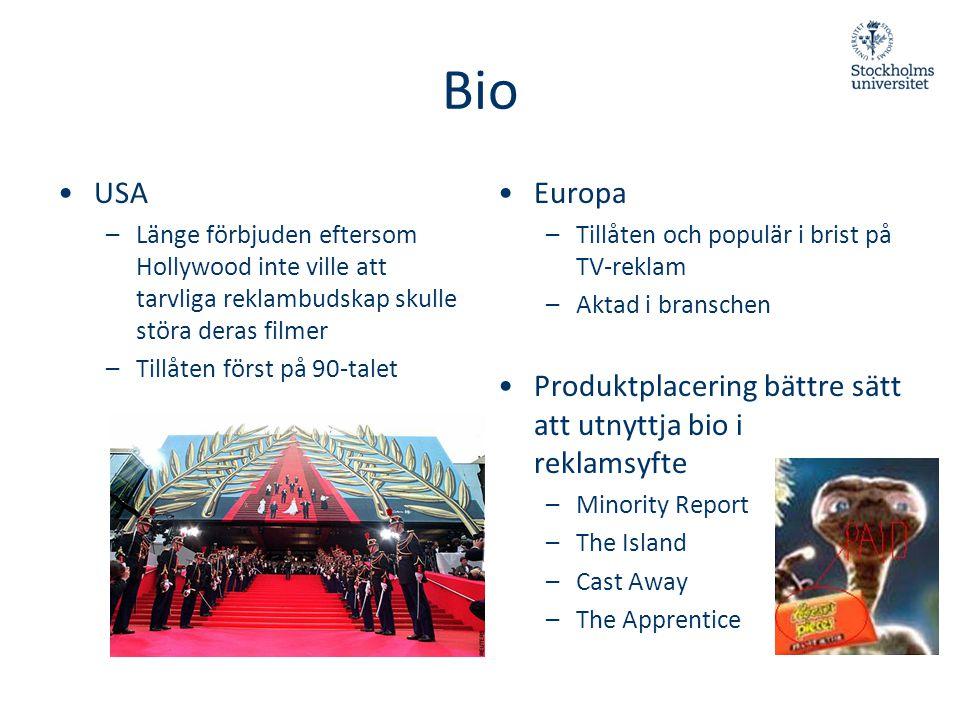Bio •USA –Länge förbjuden eftersom Hollywood inte ville att tarvliga reklambudskap skulle störa deras filmer –Tillåten först på 90-talet • Europa –Til