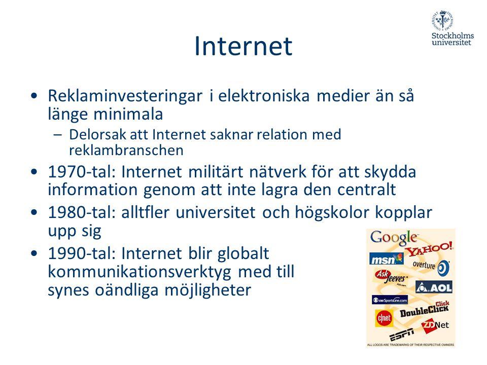 Internet •Reklaminvesteringar i elektroniska medier än så länge minimala –Delorsak att Internet saknar relation med reklambranschen •1970-tal: Interne