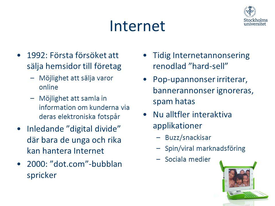 Internet •1992: Första försöket att sälja hemsidor till företag –Möjlighet att sälja varor online –Möjlighet att samla in information om kunderna via