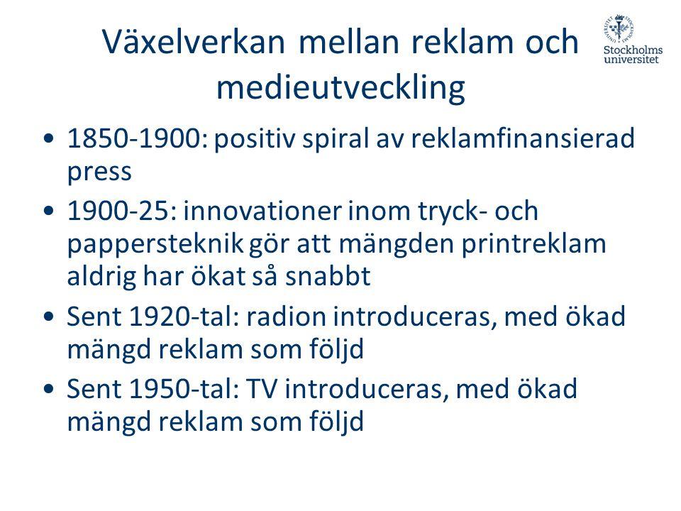 Växelverkan mellan reklam och medieutveckling •1850-1900: positiv spiral av reklamfinansierad press •1900-25: innovationer inom tryck- och papperstekn