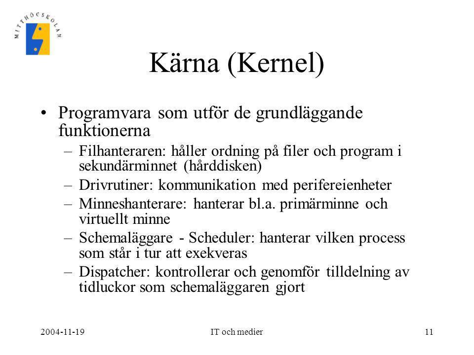 2004-11-19IT och medier11 Kärna (Kernel) •Programvara som utför de grundläggande funktionerna –Filhanteraren: håller ordning på filer och program i se