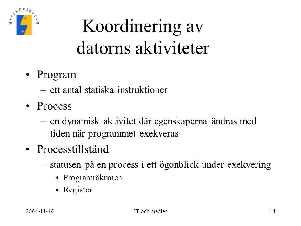 2004-11-19IT och medier14 Koordinering av datorns aktiviteter •Program –ett antal statiska instruktioner •Process –en dynamisk aktivitet där egenskape