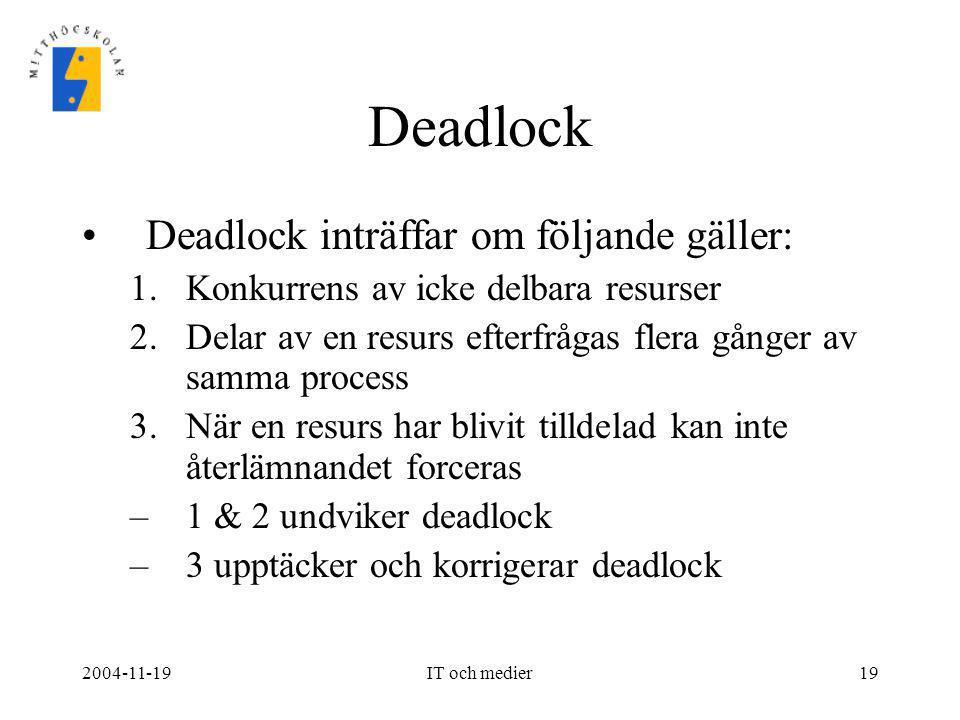2004-11-19IT och medier19 Deadlock •Deadlock inträffar om följande gäller: 1.Konkurrens av icke delbara resurser 2.Delar av en resurs efterfrågas fler