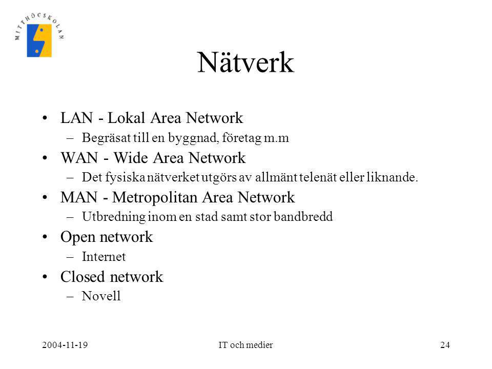 2004-11-19IT och medier24 Nätverk •LAN - Lokal Area Network –Begräsat till en byggnad, företag m.m •WAN - Wide Area Network –Det fysiska nätverket utg