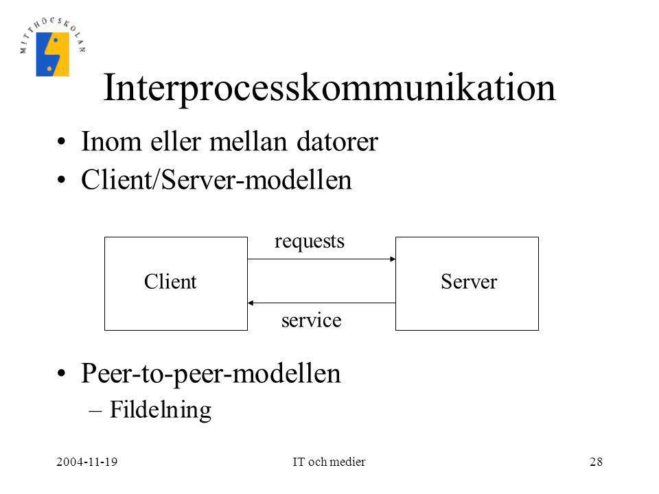 2004-11-19IT och medier28 Interprocesskommunikation •Inom eller mellan datorer •Client/Server-modellen •Peer-to-peer-modellen –Fildelning ClientServer