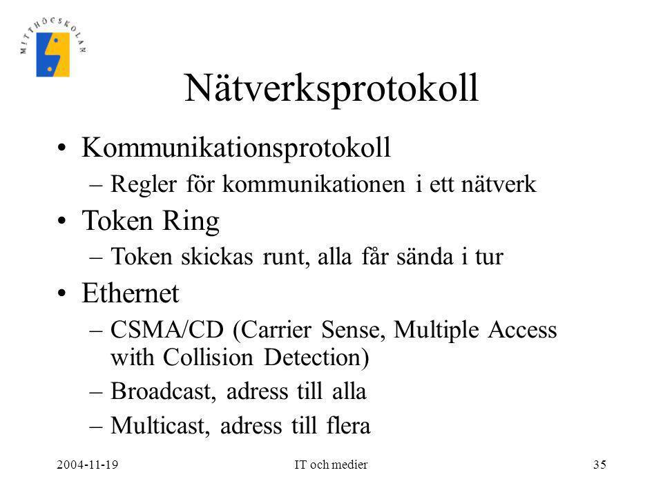 2004-11-19IT och medier35 Nätverksprotokoll •Kommunikationsprotokoll –Regler för kommunikationen i ett nätverk •Token Ring –Token skickas runt, alla f