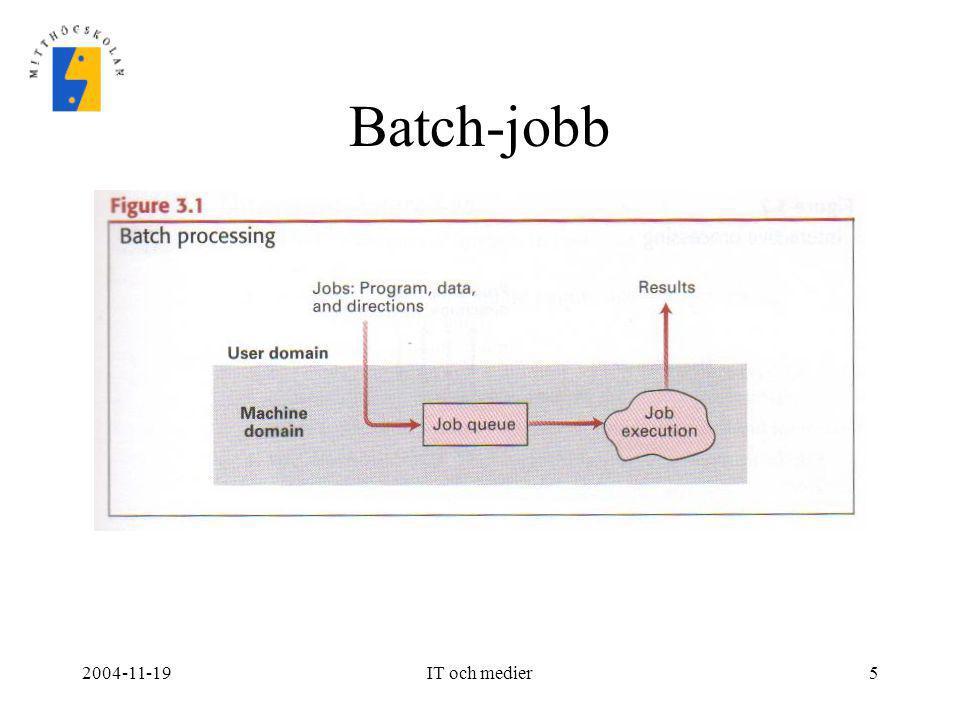 2004-11-19IT och medier6 Utveckling av operativsystem II •Tidsdelning (time-sharing) –Flera program och användare kan dela på samma processor.
