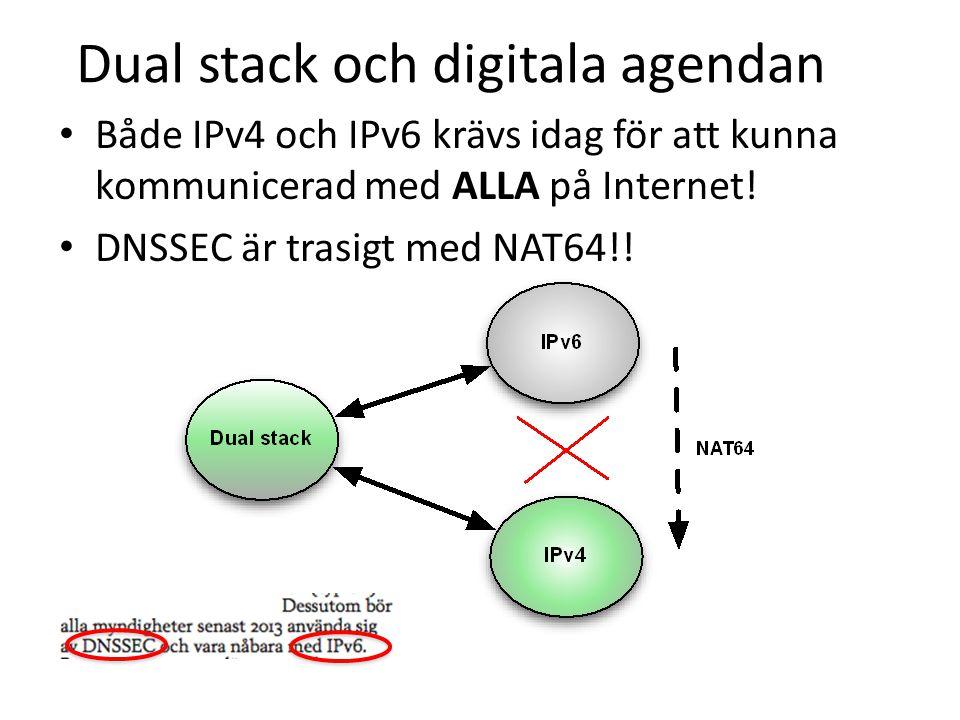 Dual stack och digitala agendan • Både IPv4 och IPv6 krävs idag för att kunna kommunicerad med ALLA på Internet.