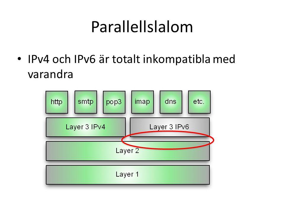 Parallellslalom • IPv4 och IPv6 är totalt inkompatibla med varandra