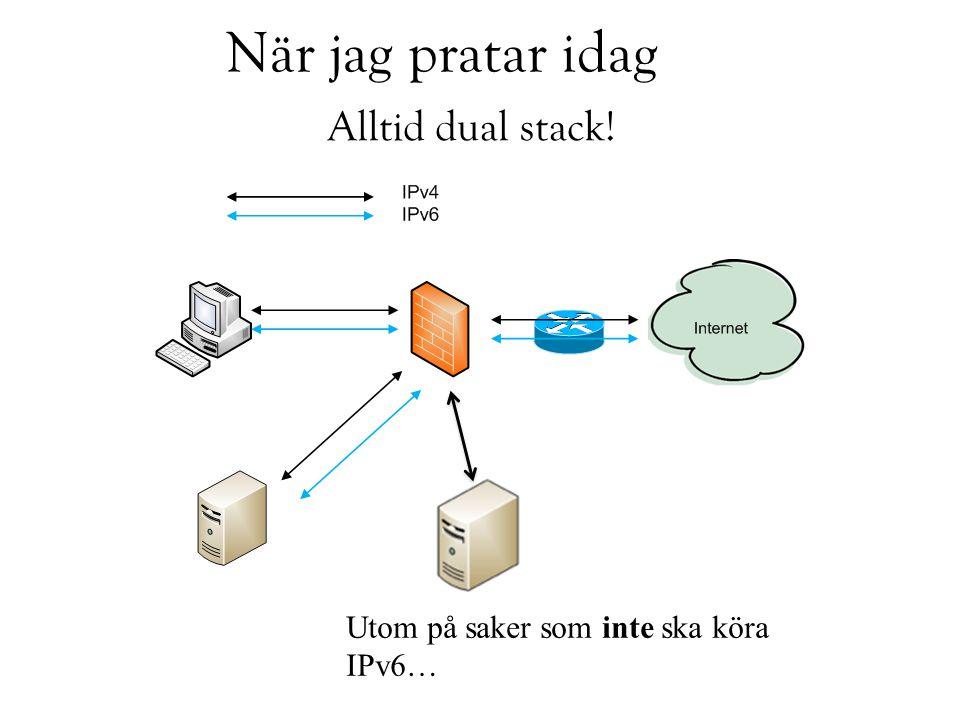 När jag pratar idag Alltid dual stack! Utom på saker som inte ska köra IPv6…