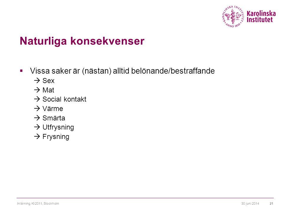 30 juni 2014Inlärning, KI 2011, Stockholm21 Naturliga konsekvenser  Vissa saker är (nästan) alltid belönande/bestraffande  Sex  Mat  Social kontak