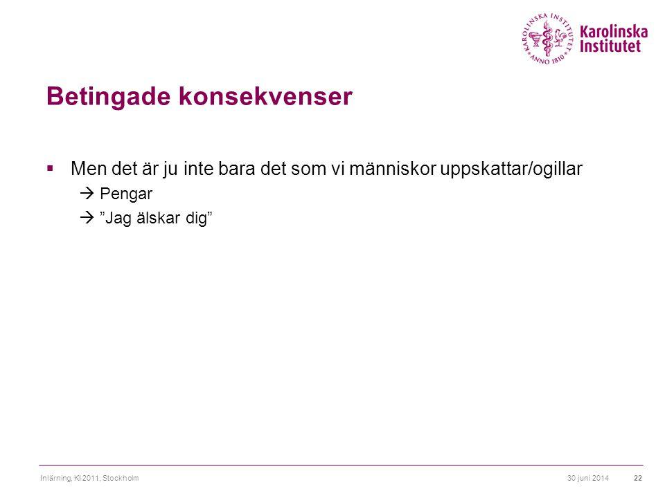 """30 juni 2014Inlärning, KI 2011, Stockholm22 Betingade konsekvenser  Men det är ju inte bara det som vi människor uppskattar/ogillar  Pengar  """"Jag ä"""